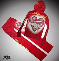 Free shipping Ed autumn women's velvet fashion set personalized print casual sports set