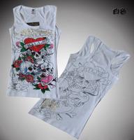 Free shipping Ed women's summer small vest basic shirt print rhinestones slim all-match