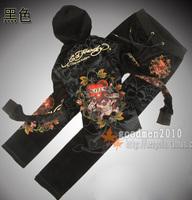 Free shipping Ed women's single tier hooded cardigan set vintage fashion ed velvet set