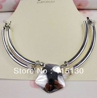 Vintage Crystal Beads Chunky Silver Plated Star Pendant Choker Necklacce For Women Fashion Jewelry Set Wholesale