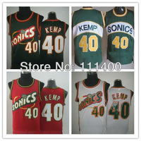 Free Shipping Mens #40 Shawn Kemp throwback Green Red White Basketball jersey  Embroidered logos Size:S-XXL Can Mix order