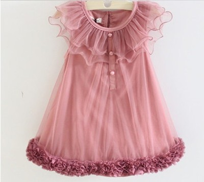 2013 children's princess dress girls vest fully thin cotton lace flowers bitter fleabane gauze plate dress ,freeshipping(China (Mainland))