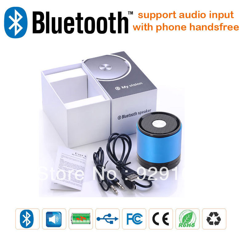 free shipping bluetooth speaker wireless 60pc/lot bluetooth speaker metal housing handsfree best quality factory directly sell(China (Mainland))