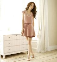 Elegant vintage sleeveless chiffon one-piece dress A13522