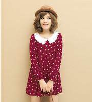 2013 summer laciness one-piece dress peter pan collar dot chiffon A12982