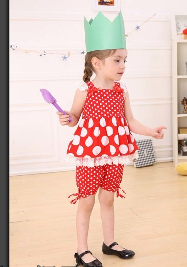 wholesale one lot 6-20 wholesale one lot Children's clothing 210214 summer child twinset polka dot set 36 5(China (Mainland))
