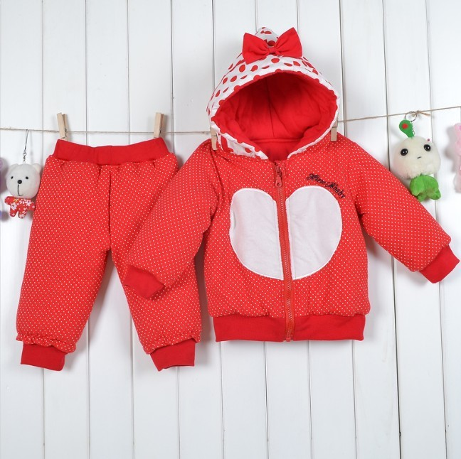 wholesale one lot Female love child with a hood autumn and winter thickening long-sleeve baby wadded jacket infant set 55 3(China (Mainland))