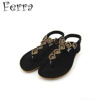 New female sandals women's shoes flat heel flat slip-resistant beaded flip comfortable bohemia Relogio