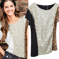 Free Shipping brand 2013 women's leopard print patchwork paillette short-sleeve T-shirt