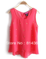 Best Selling!!2013 Spring new European style skull rhinestone short in front long sleeveless vest chiffon shirt Free Shipping