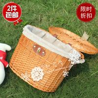 Hemp bicycle basket folding bicycle basket liubian sitair basket car basket car box lining c car