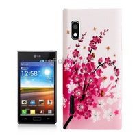 Cherry Blossom Pattern Crystal Encrusted Phone Plastic Case Cover for LG Optimus L5 E612