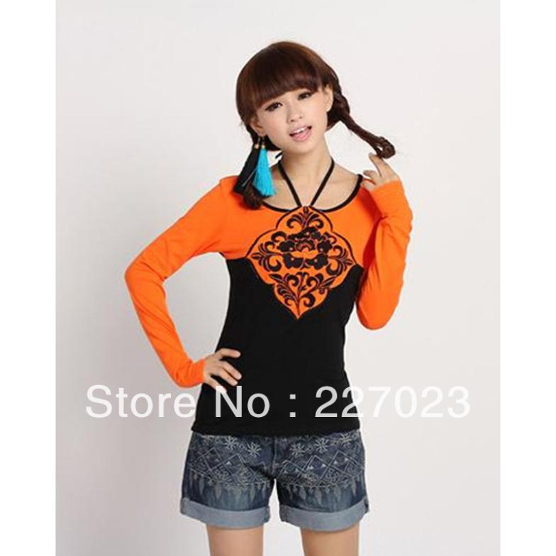 free shipping2013 Round Neck Long Sleeve Two Tone Embroidery Cotton Woman T Shirts X00010EMDH(China (Mainland))