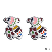 Min.order is $9.9 (mix order) Fashion accessories jewelry multicolour titanium bear girls stud earring ge214