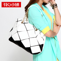 2013 casual fashion magic cube bag color block chain bag handbag one shoulder women's handbag  10432