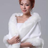 Wedding wrap formal dress fur shawl bride cheongsam cape autumn and winter white 799