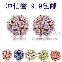 Accessories ceramic small flower diamond earrings stud earring exquisite earring