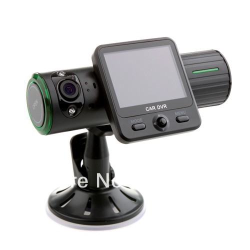 Dual Lens 1280x480 VGA Lens G-Sensor GPS IR Light Car Black Box Free Shipping By HK Post(China (Mainland))