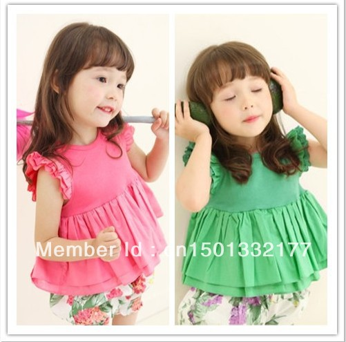 free shipping children's clothing new fashion girls lovely t shirt cotton baby clothing kids clothes wholesale 13014(China (Mainland))