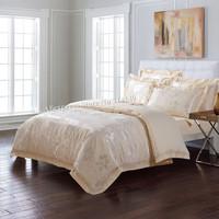 luxurious cotton Jacquard comforter/duvet covers Tencel Bedlinens Elegant Lily Flower Europe Beige Embroidered 4pcs Queen/King