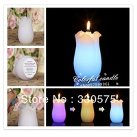 2013 Most hot tulip shaped candle new design led candle , color changing led wax candle for Birthdays, Weddings, Parties,
