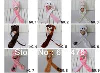 Free shipping 100pcs/lot Cartoon Animal Hats Plush hat with mittens tiger,bird,panda,rabbit,elephant,duck,monkey