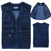 Classic Men's cotton denim Vest Male autumn jeans jackets outerwear waistcoat vest coat for men,plus size XXXXXL