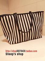 Free Shipping Cool navy style vertical stripe super large canvas big bag shoulder bag shopping bag