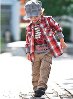 Free shipping new arrival 5 sets/lot boy spring / autumn clothing suits, one plaid shirt + one printed t shirt + one caual pant