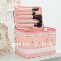 free shipping 2013 promotion! pink cherry cosmetic bag jewelry storage box make up handbag cosmetic case canvas material