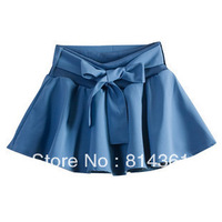 Best Selling!!Summer 2013 bowknot solid color chiffon culottes half-length skirt Free Shipping