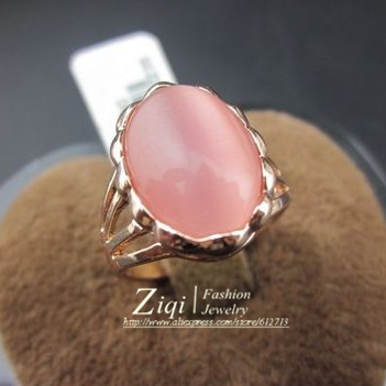 Fashion Jewelry (12pcs/lot) Simple Rose Gold Filled Pink Opal Women Or Kids Rings Factory Supply Directly Free Shipping ZQR0191(China (Mainland))