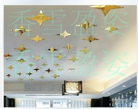 Min order 15 usd ( Mix items) 50 PCS8.5*5cm GOLD Mirror stickers crystal three-dimensional wall stickers tv wall ceiling mirror