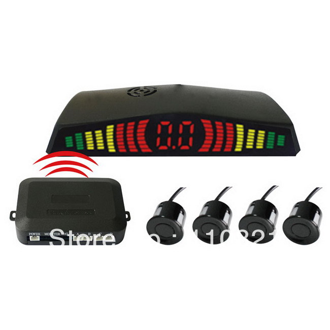 Free Shipping PZ304-W LED Wireless Car Parking Sensor Backup Reverse Rear View Radar Alert Alarm System with 4 Sensors(China (Mainland))