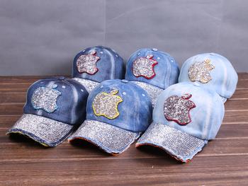 Spring and summer diamond sparkling diamond denim cap all-match sun-shading baseball cap casual cap