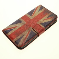 UK UAS Flag Stand Wallet Leather Case For Samsung Galaxy S4 i9500 With Card Holder 1pcs ship by China post air mail