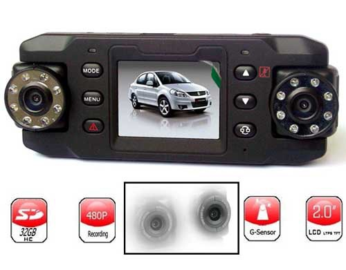 Dual Lens 140 Degree Wide Angle 2.0 inch High definition TFT LCD Car Black Box Recorder(China (Mainland))