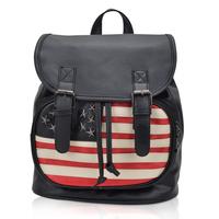 Free Shipping Women's street fashion casual double-shoulder back national flag rivet pattern backpack bag