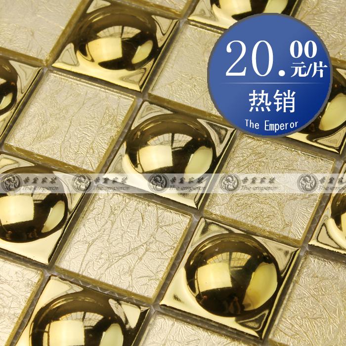 Folha de ouro de cerâmica de vidro flash de ouro tv telha da parede da telha de mosaico(China (Mainland))