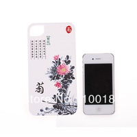 Promotion 10pcs/lot New Chrysanthemum Pattern Plastic Case Cover for iphone 4 4s,Free Shipping