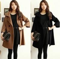 UK New 2014 Autumn Winter Women's Plus size XL XXL Khaki Black Lapel 3/4 Bat-wing sleevei Woolen Long Coat  Nibbuns casacos