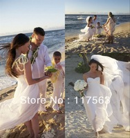 Free shipping!Megan Fox sweetheart sleeveless beach wedding dress with long train HS047