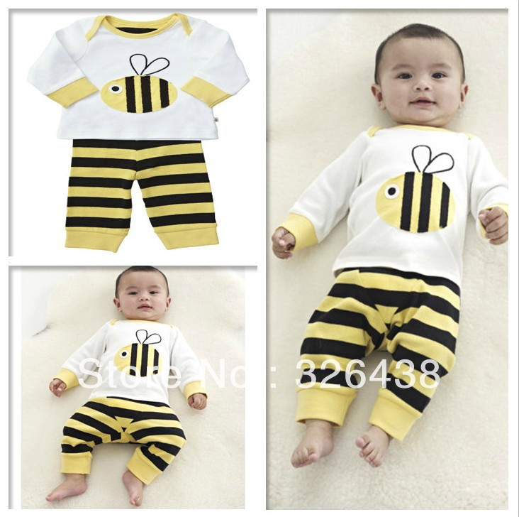 Children's Sets girl's and boy's Long sleeve bees T-shirt+stripe pants 2 piece suit kids pajamas (5pcs/lot)(China (Mainland))
