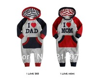 Free shipping baby long sleeve romper 2013 i love MOM & DAD autumn winter hoodie romper jumpsuit baby clothing outwear 3pcs/lot