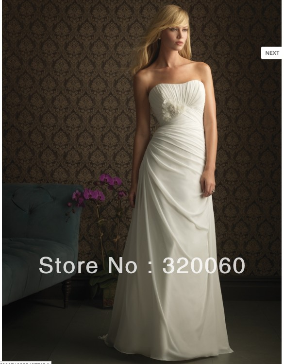 2013 Fashion White Beautiful Simple Cool Sweetheart Off The Shoulder Floor-Length Pleat Flowers Backless Beach Wedding Dresses(China (Mainland))