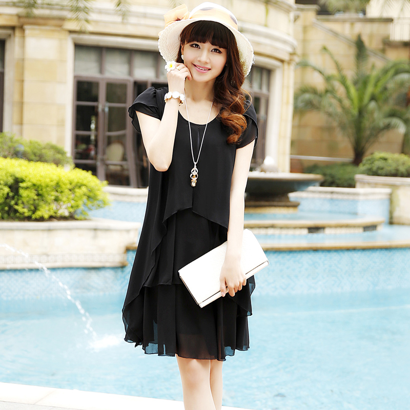 2013 summer new arrival solid color chiffon one-piece dress plus size loose short-sleeve summer one-piece dress(China (Mainland))