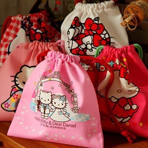 Free Shipping Kawaii Hello Kitty Cotton Fabric Drawstring Bag Storage Bag Organizer Pouch Wholesale(China (Mainland))