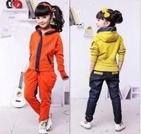 Children's clothing female child spring set child twinset set 100% cotton denim patchwork 2 piece set #sale2