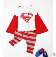 superman chothes baby Children's clothes  Baby Clothing  kid's boys summer clothes 3pcs, 5sets/lot