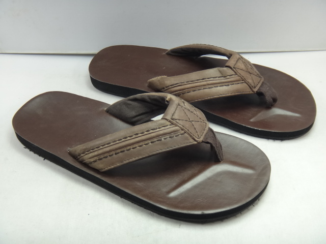 Fashion deep brown leather flip-flop slippers flip flops sandals shoes plus size(China (Mainland))